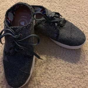Toms Gray Black Houndstooth Canvas Tie Shoes 5.5W